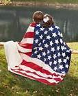 Jumbo Sherpa Backed Americana Patriotic Flag Throw Blanket S