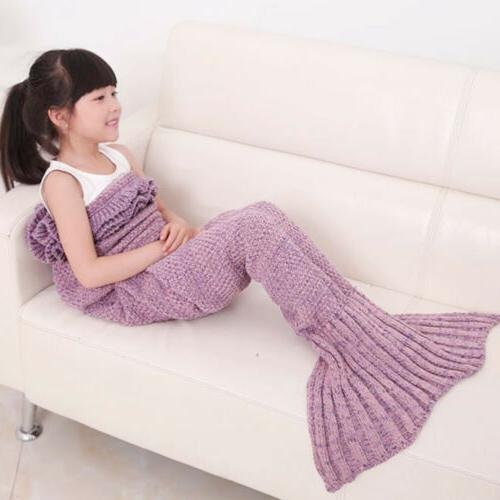 Kids Knitted Mermaid Tail Blanket  Sleeping Bag Sofa Quilt M