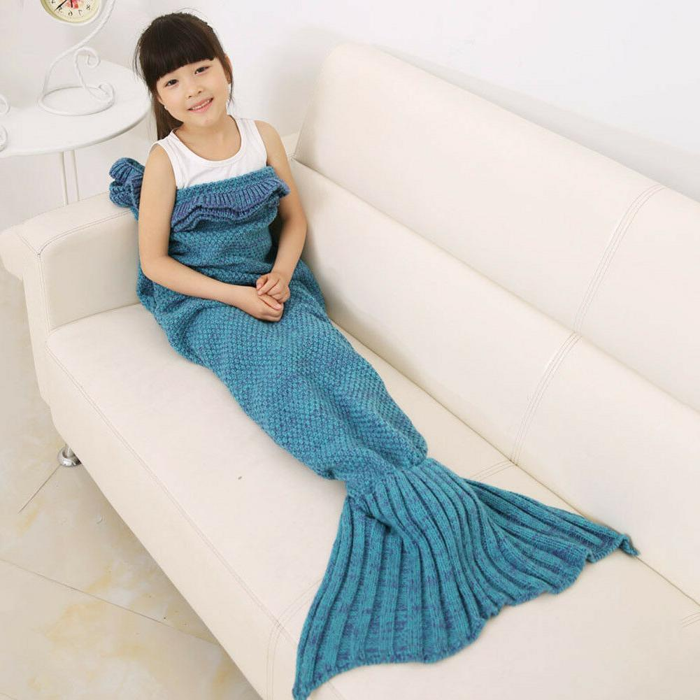 Knitted Mermaid Tail Blanket for kids Living Room Sleeping B