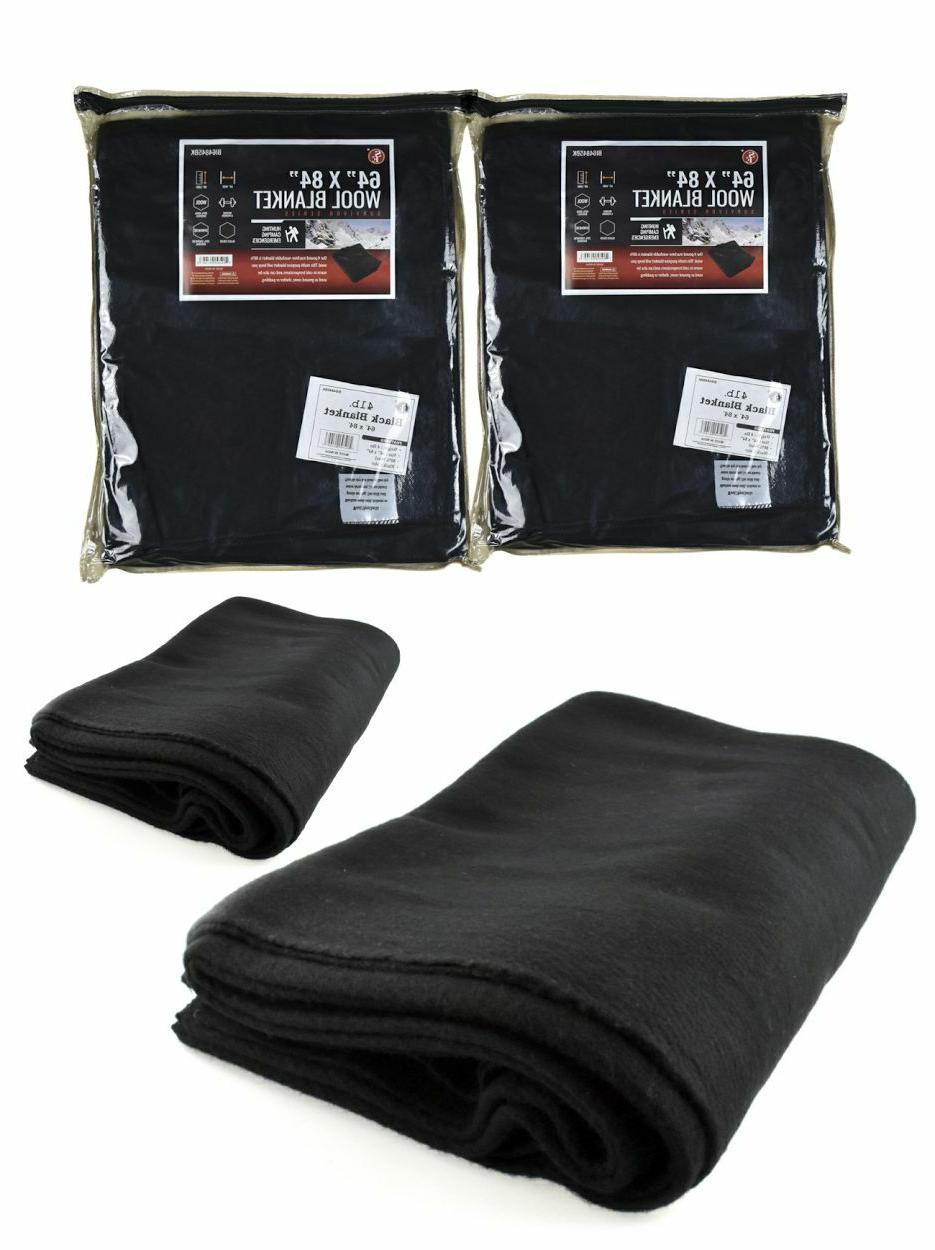"LOT of 2: Black Military Style Wool Emergency Blanket 64"" x"