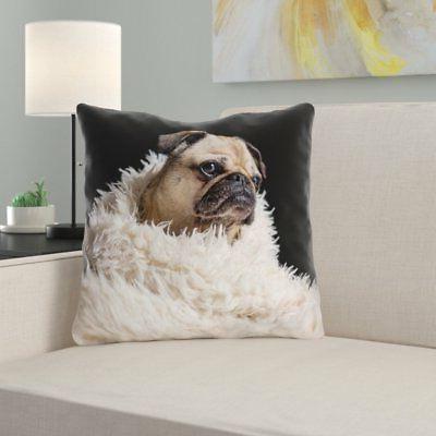 Latitude Run Karlos Pug in Blanket Outdoor Throw Pillow