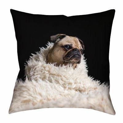 Latitude Run Karlos Pug in Blanket Square Throw Pillow