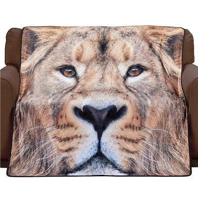 Lion Fleece Throw Blanket, Photorealistic Animal Print Home
