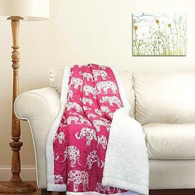"Lush Decor Elephant Parade Throw Blanket, 60 x 50"", Pink"