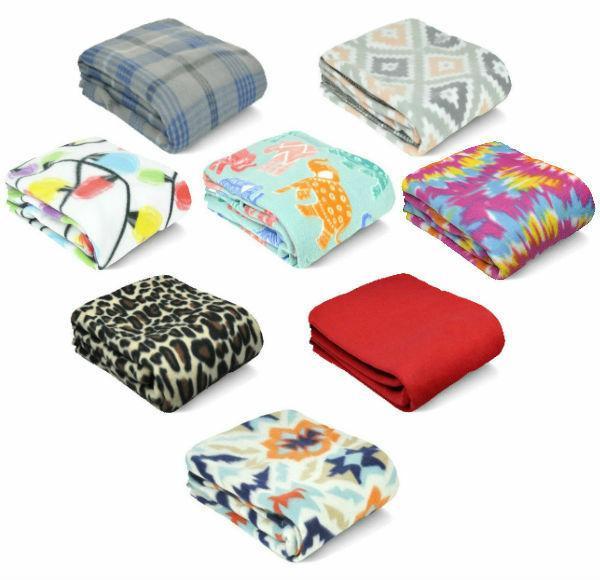 Mainstay Fleece Throw Blanket Plaid Tartan Solid Soft Warm C