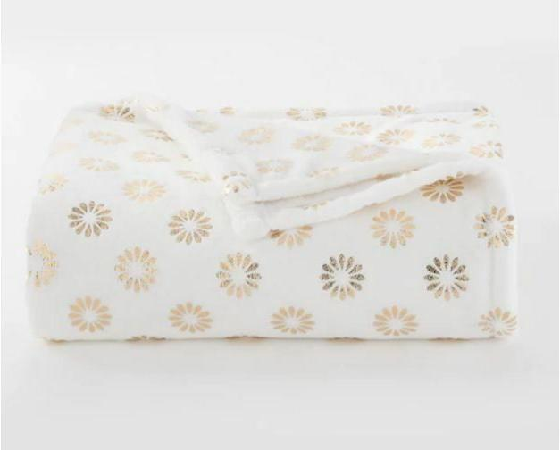 NEW FALL Gold Floral Foil Throw Blanket Holiday Oversize Sup