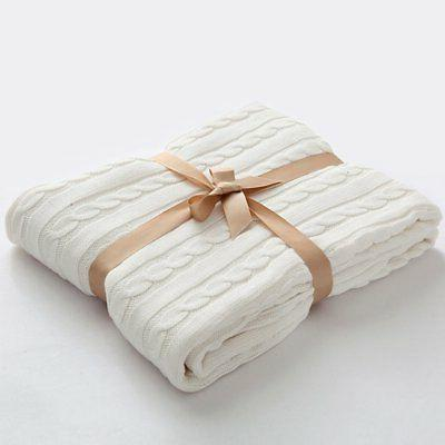 NTBAY 100% Cotton Cable Knit Throw Blanket Super Soft Warm M