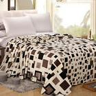NTBAY Brown Flannel Throw blanket with Grid Pattern Full Que