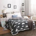 NTBAY Grey Mink Fleece Throw Blanket or Quilt with Cloud Pat