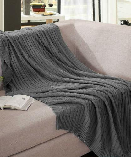 NTBAY Throw Blanket 100% Cotton Cable Knit Super Soft Warm M