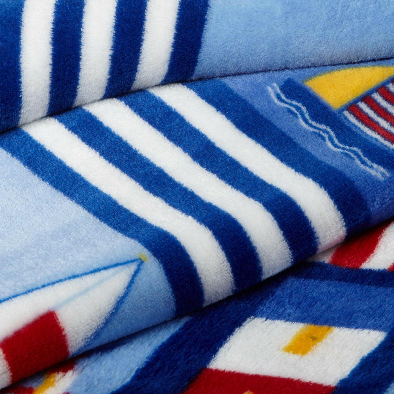 "Nautical Boat lighthouse Throw Blanket 70"" 50"" Nautical beach"