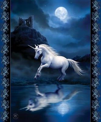 New Anne Stokes Moonlight Unicorn Plush Fleece Throw Gift Bl