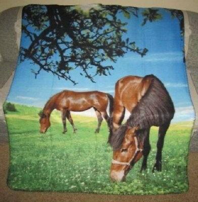 New Horses in Meadow Fleece Throw Blanket SOFT Horse Lover G