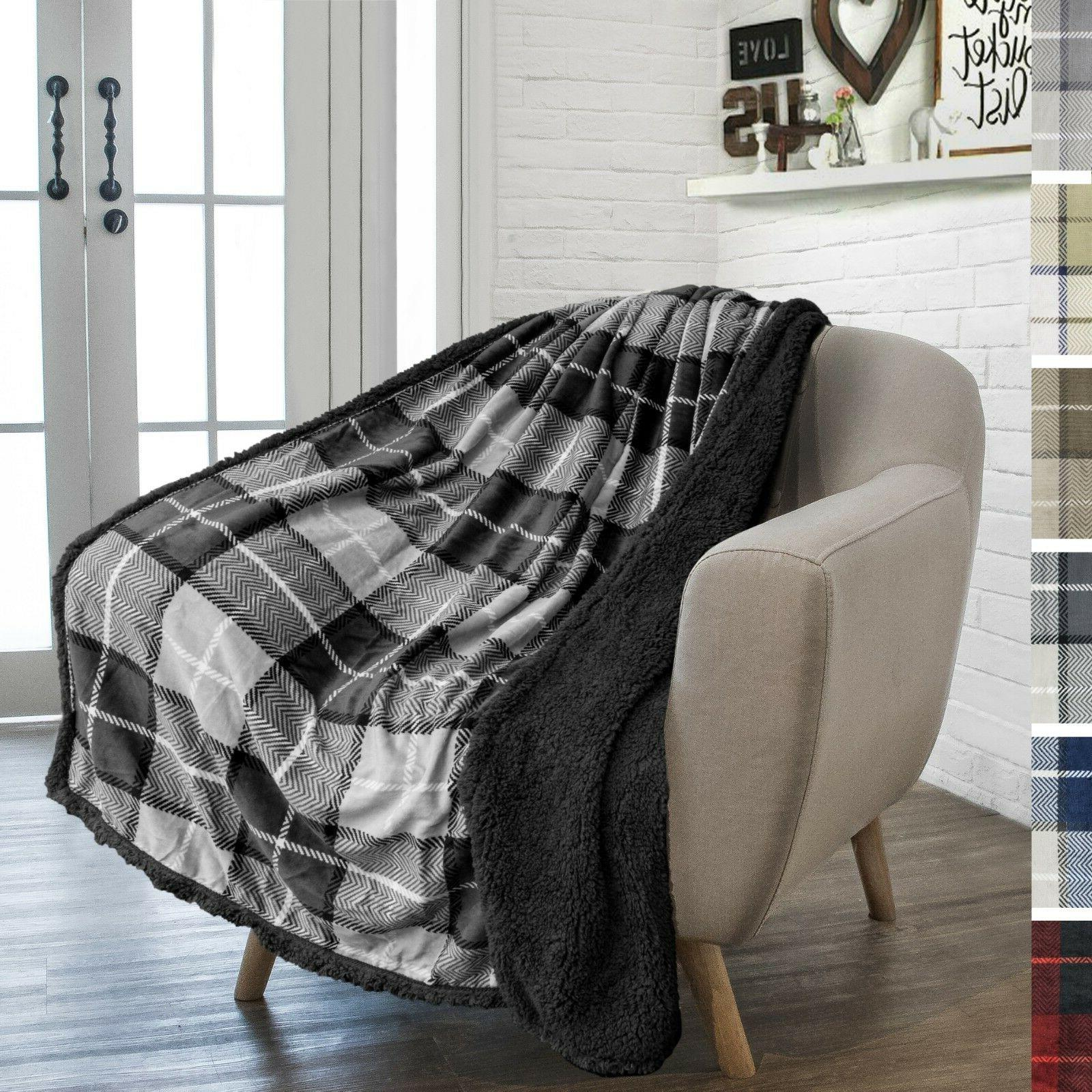 Plaid Blanket Couch Sofa Sherpa