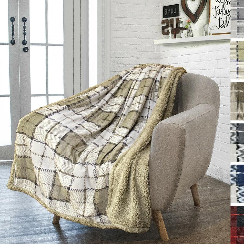 Plaid Throw Blanket Couch Sofa Bed Sherpa
