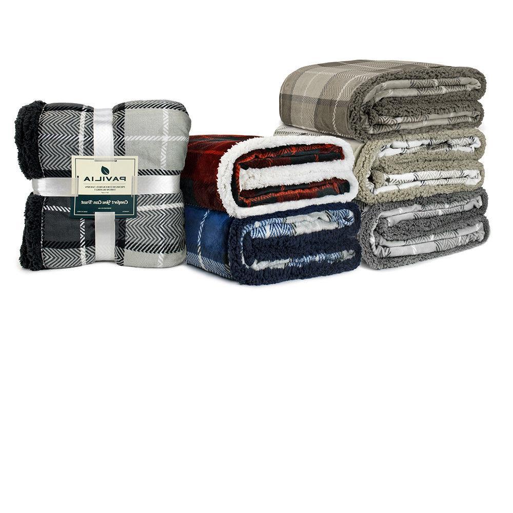 Plaid Blanket Couch Sofa Fleece Microfiber