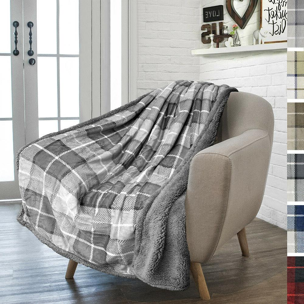 Plaid Couch Bed Sherpa Fleece