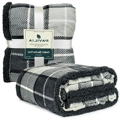 PAVILIA Throw Sherpa Plush Microfiber