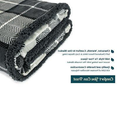 Plaid Couch Sofa Bed Fleece Microfiber Reversible