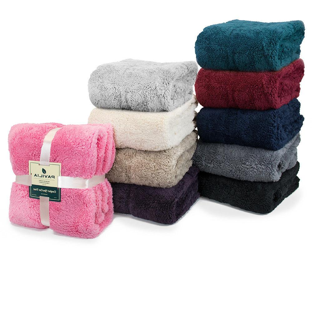 PAVILIA Fuzzy Sherpa Throw Sofa Bed