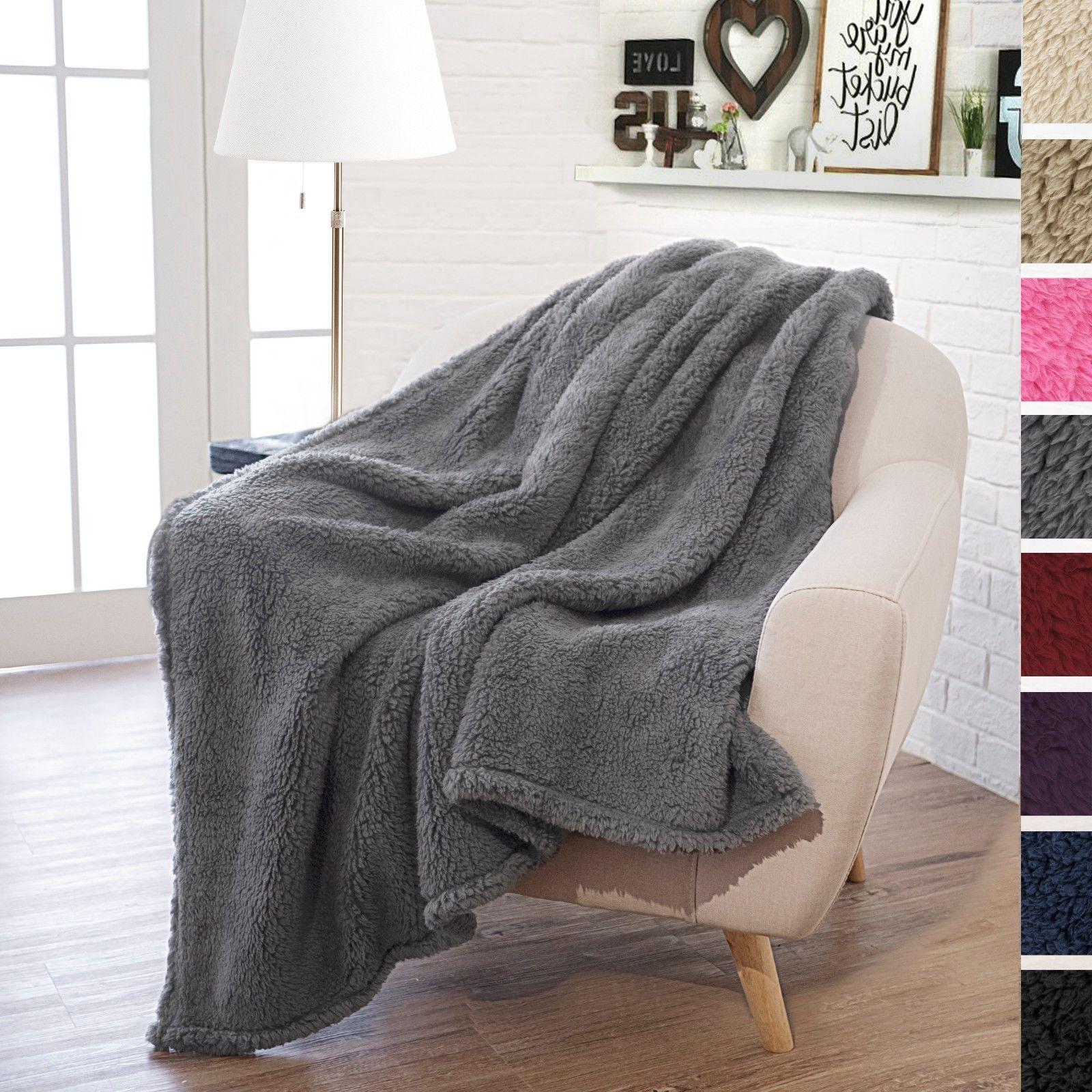 "Plush Sherpa Throw Blanket for Couch 50"" x 60"" Reversible Ve"