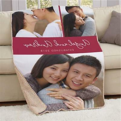 Personalized Couples Photo Throw Sherpa Blanket Wedding Gift