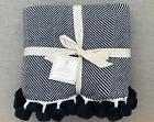Pottery Barn Kids Organic Herringbone Pom Pom Throw Blanket,
