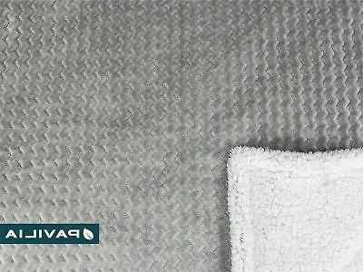 Premium Chevron Sherpa Blanket Pavilia Super Soft, Cozy,