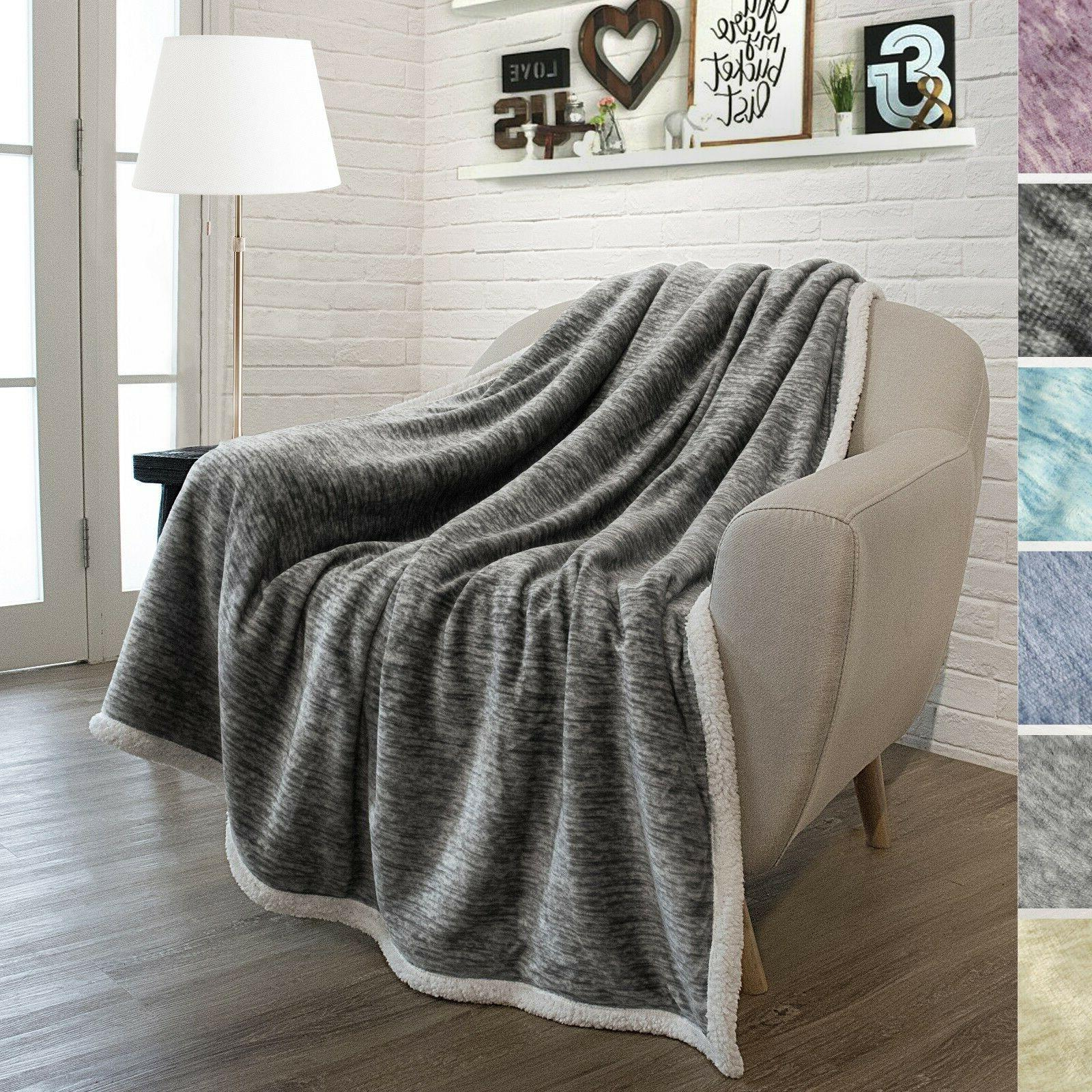 Sherpa Blanket Couch Sofa Twin Reversible Microfiber
