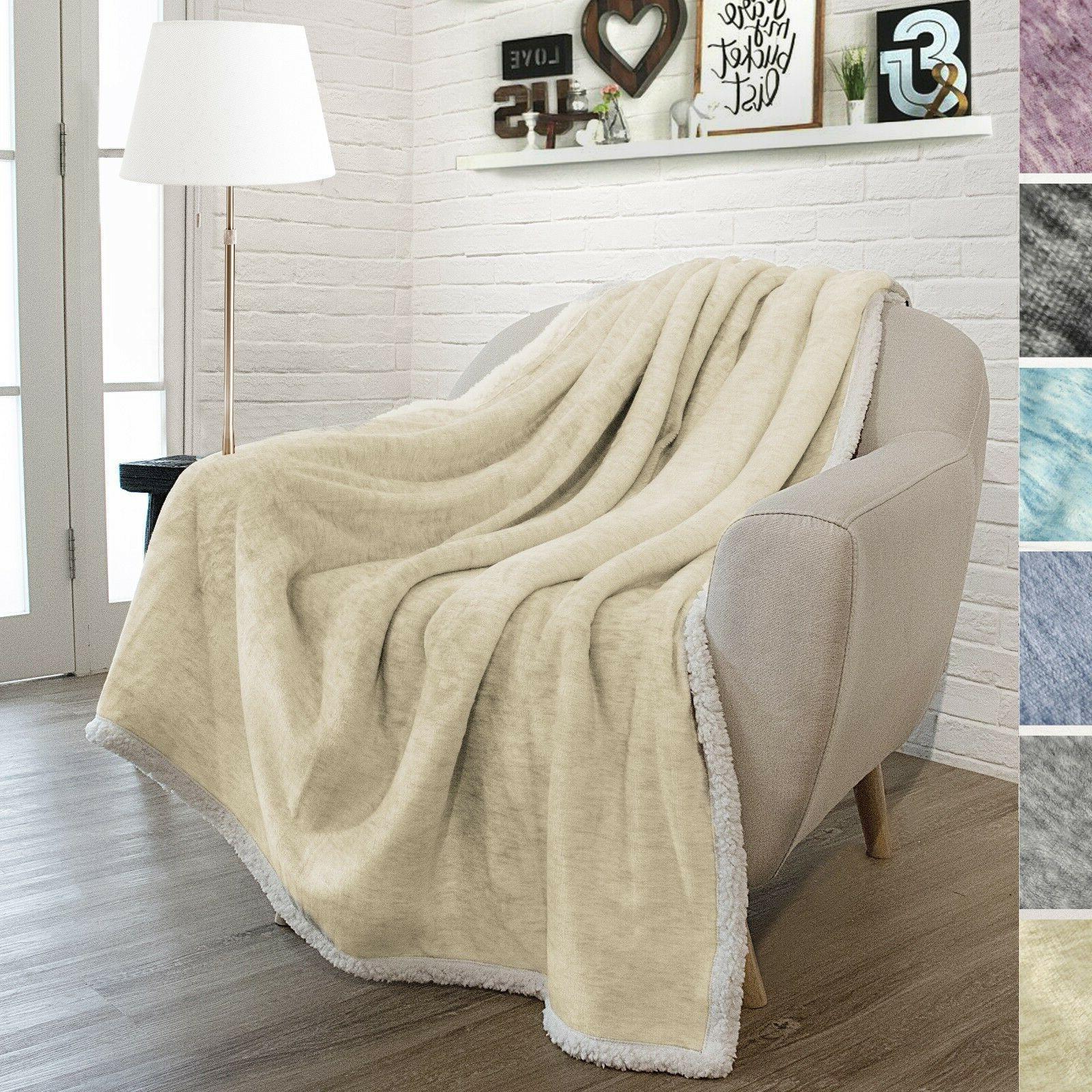 Premium Melange Plush Throw Blanket