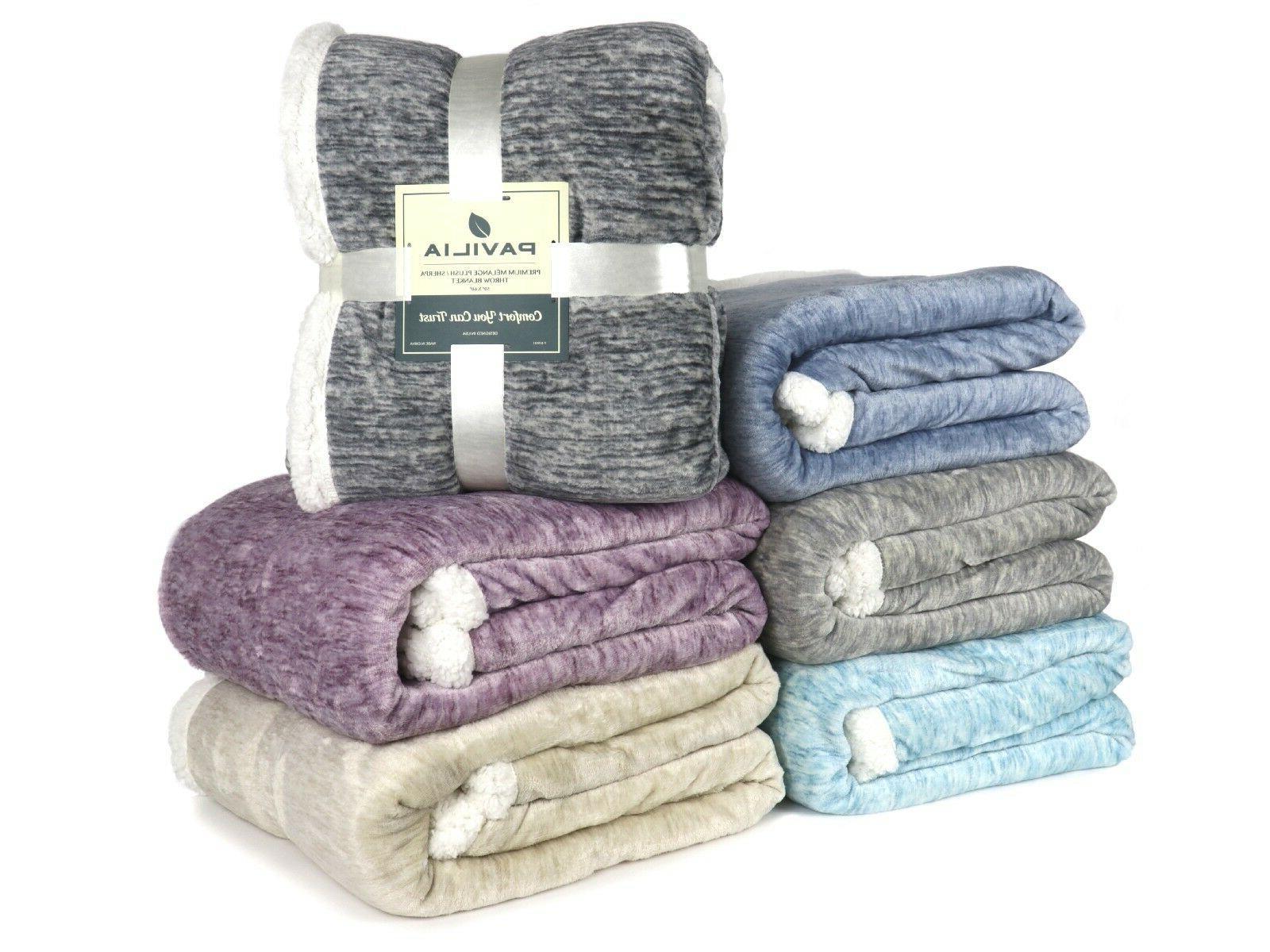 premium melange plush sherpa throw blanket microfiber