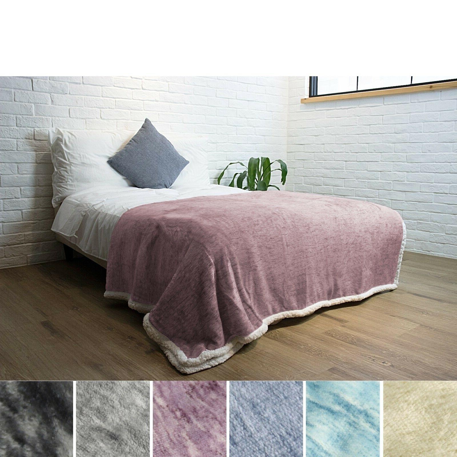 "Premium Melange Sherpa Throw Blanket by Pavilia   60"" x 80"""