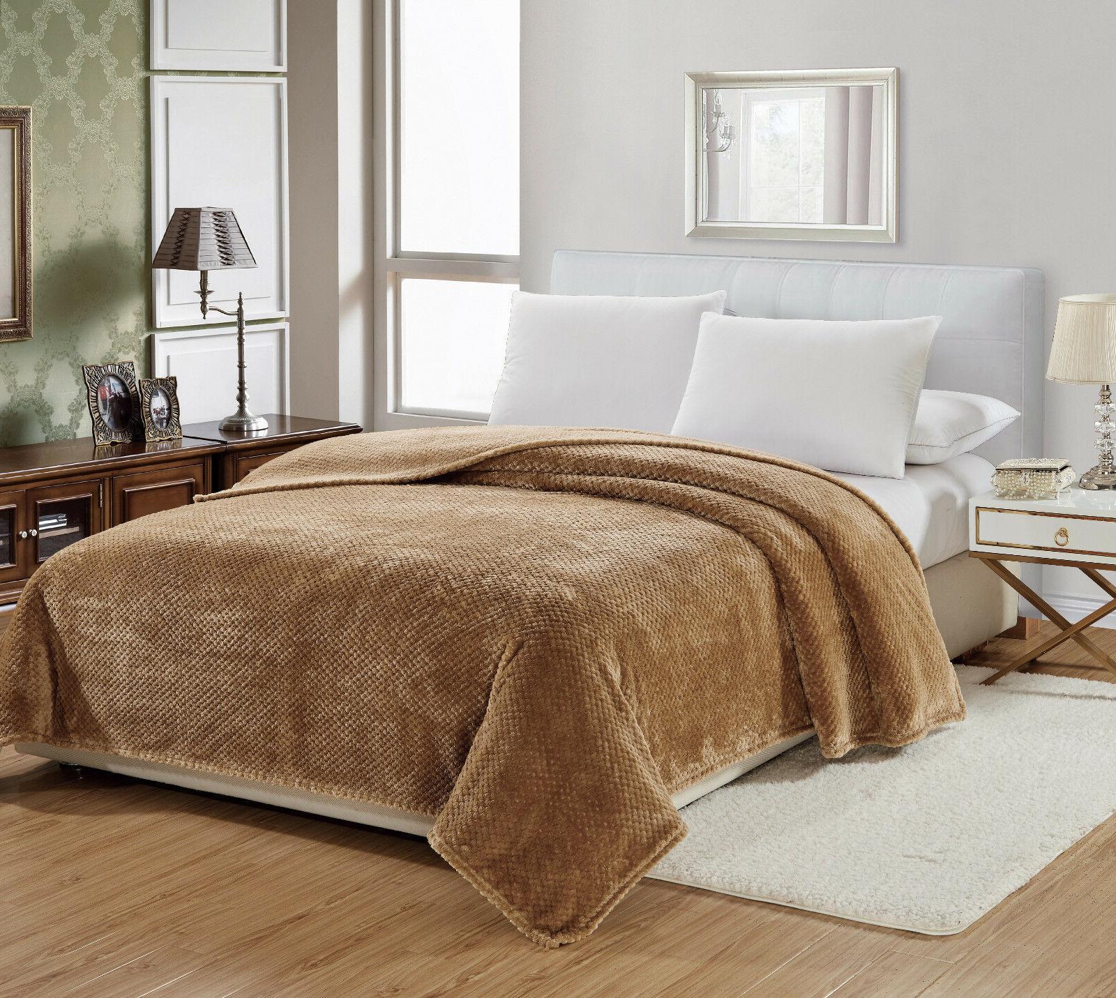 Premium Plush Cozy Fleece Throw Blanket Cover - Assorted Col
