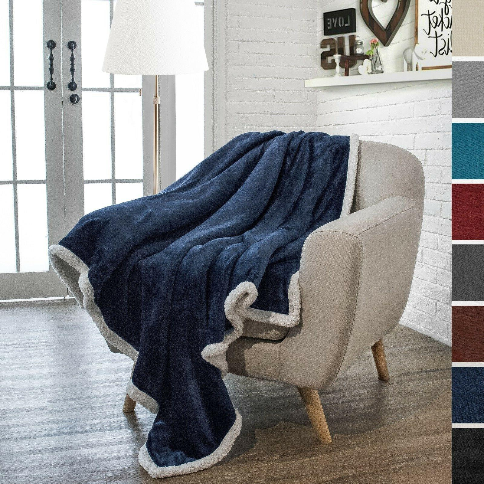 "Premium Sherpa Throw Blanket by Pavilia | 50"" x 60"" Reversib"