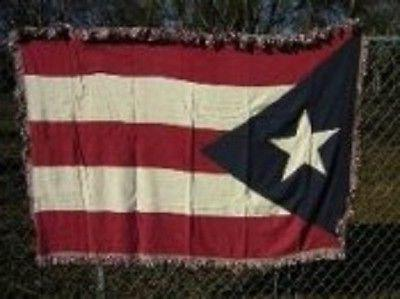 Puerto Rico Rican Flag 4ft x 6ft Cotton Woven Throw Blanket