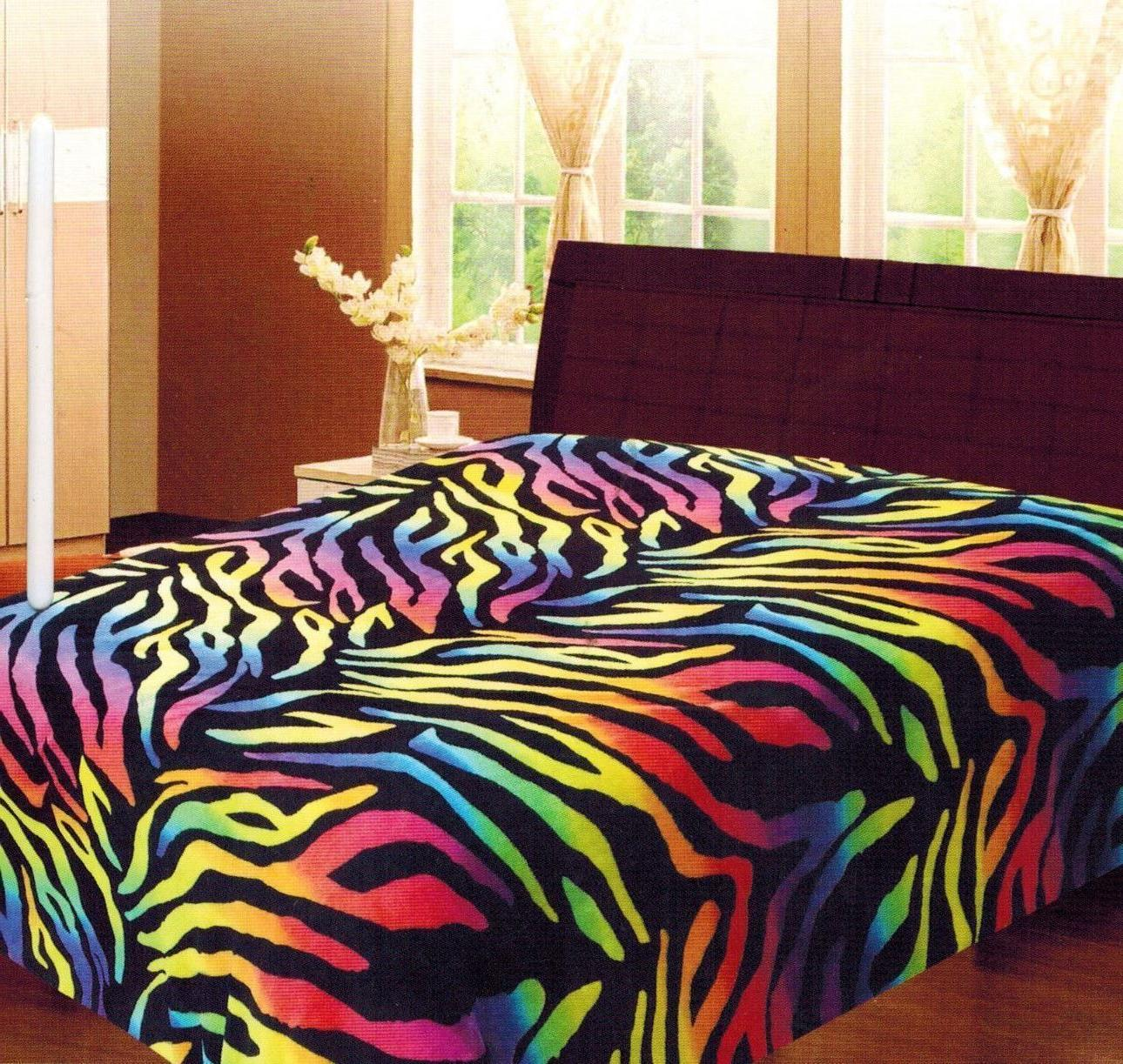 Rainbow Zebra Soft Fleece Blanket Queen Full Animal Print Mi