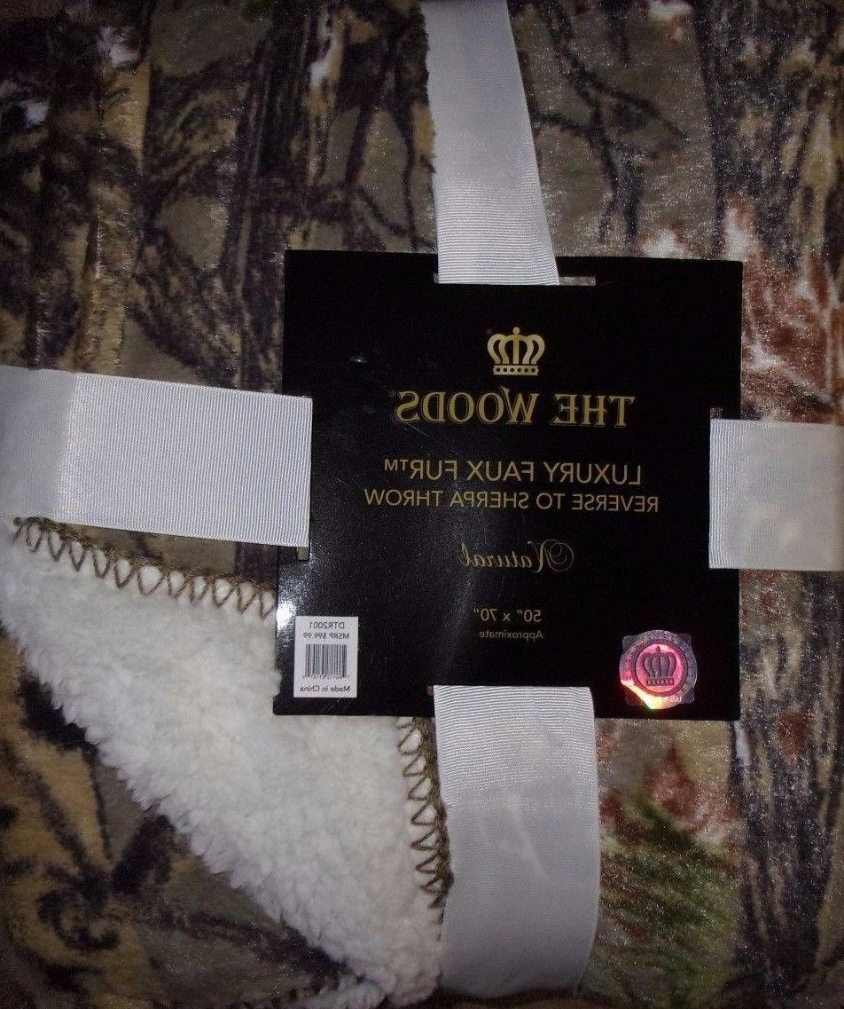 Regal Comfort Faux Fur Luxury Throw Blanket Tan Camouflage R