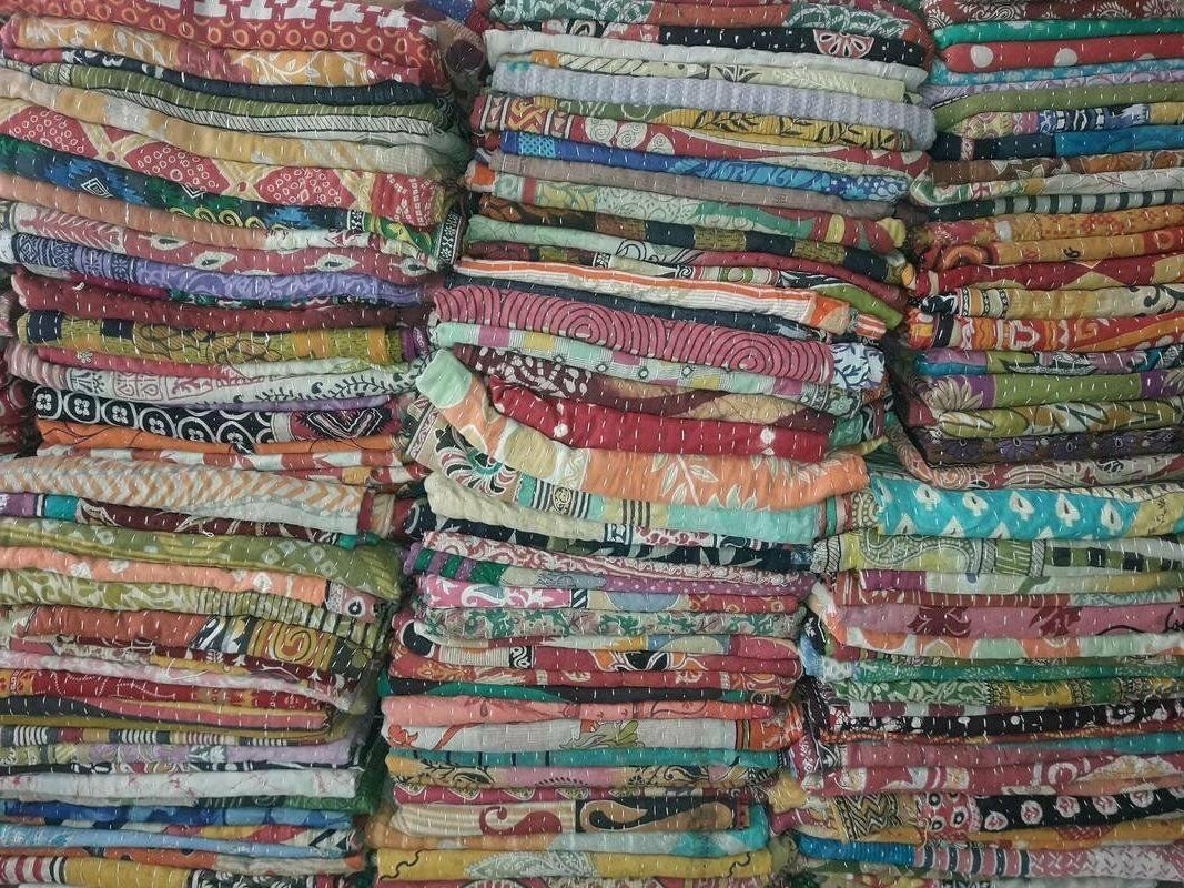 Reversible Kantha Lot Twin Quilt Indian Vintage Handmade Bla