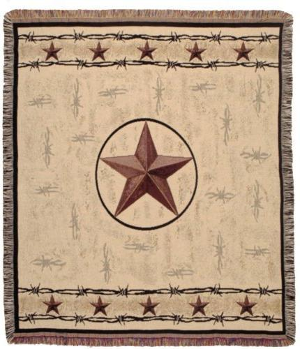 Rustic Barbed Wire & Texas Star Decorative Woven Afghan Thro