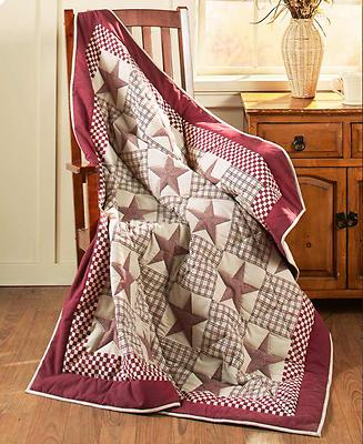 Rustic Primitive Quilted Throw Blanket Burgundy Star Country