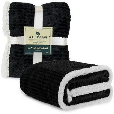 Sherpa Flannel Fleece Reversible Blanket Extra Soft Microfib