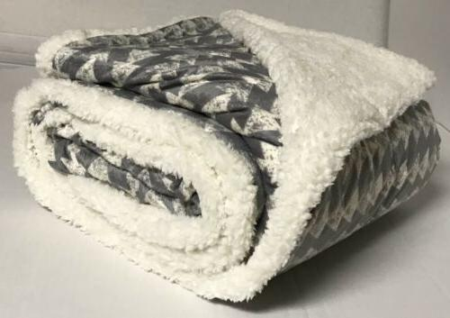 "Sherpa Blanket Twin Size 60""x80"" Reversible Velvet"