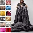 Soft Handmade Chunky Knit Sofa Blanket Throw Wool Thick Line