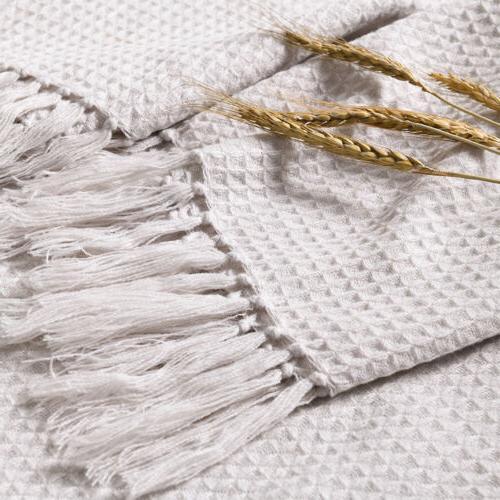 Soft Blanket Sofa Fringe Pattern