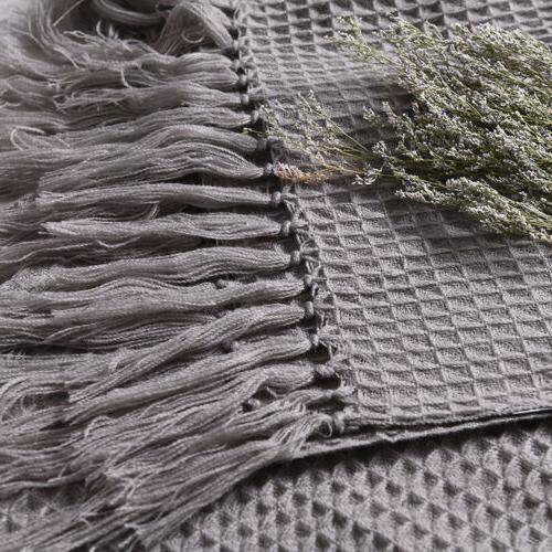 Soft Knitted Throw Bed Decorative Fringe Waffle 51x67