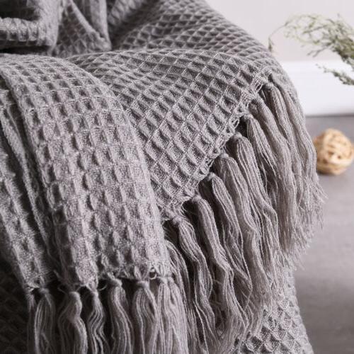 Soft Bed Sofa Couch Fringe Waffle 51x67