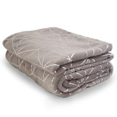 """Soft Warm Fleece Blanket With Silver Accents 52"""" X 72"""" Throw"""
