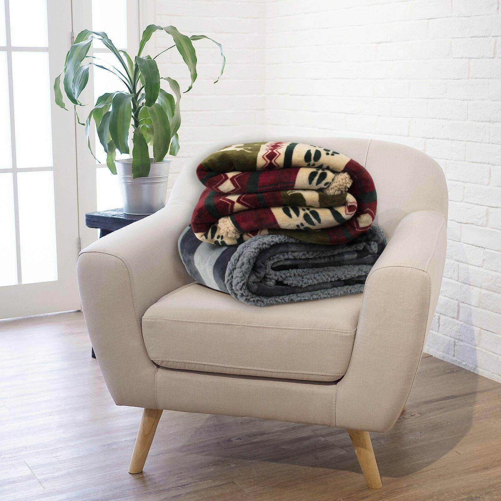 Soft Winter Blanket Flannel Striped Checkered Throw