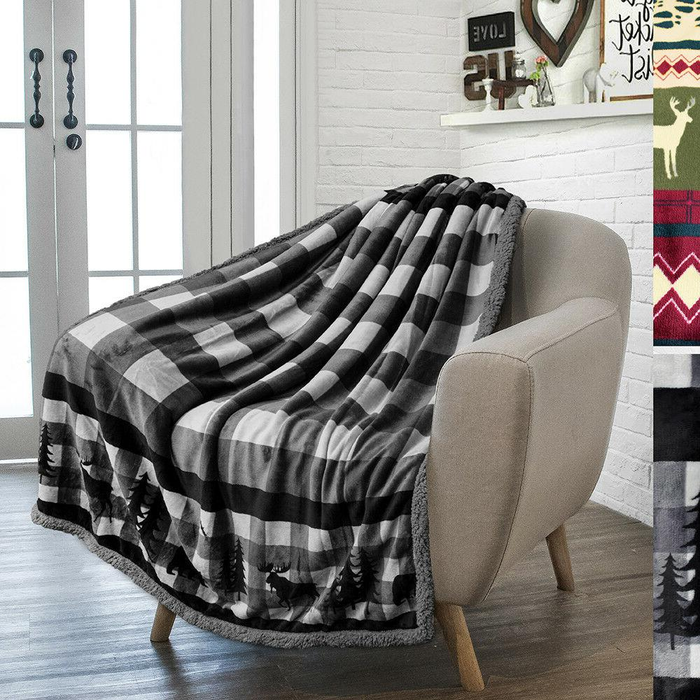 Soft Winter Holiday Cabin Blanket Flannel Striped Plaid Chec