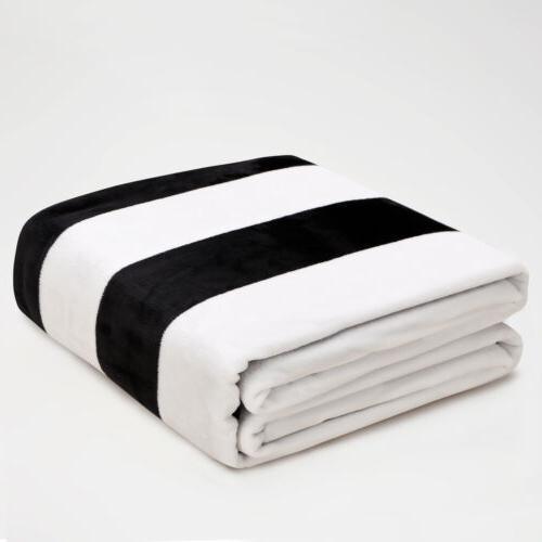 Super Soft Flannel Warm Throw Blanket Light Weight Stripe fo